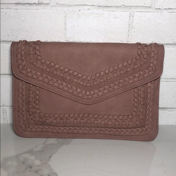 Braided Faux Leather Clutch Crossbody Bag